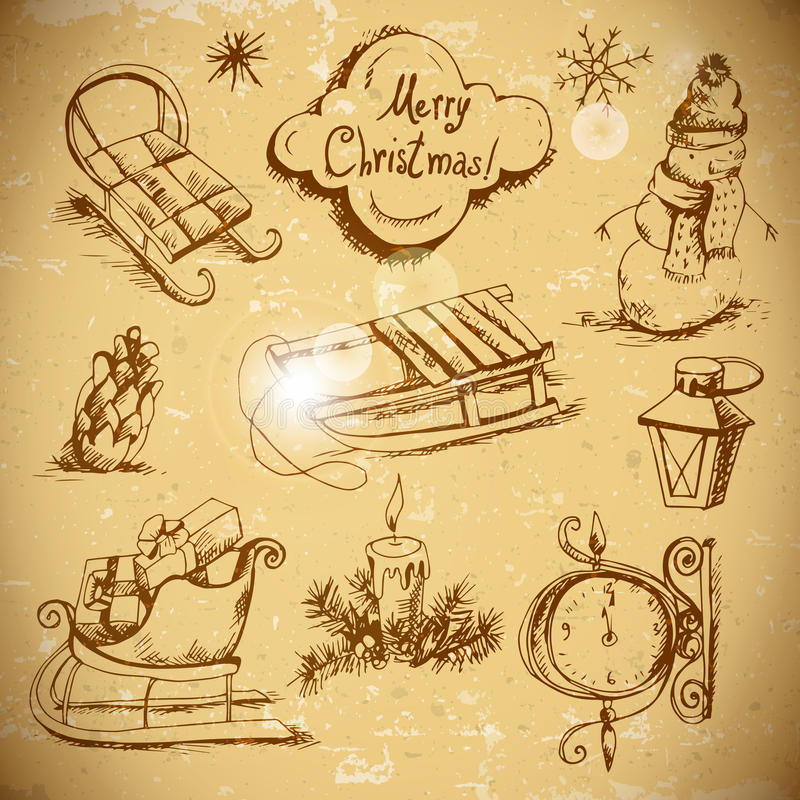 Sistema a mano del Año Nuevo y de la Navidad stock de ilustración