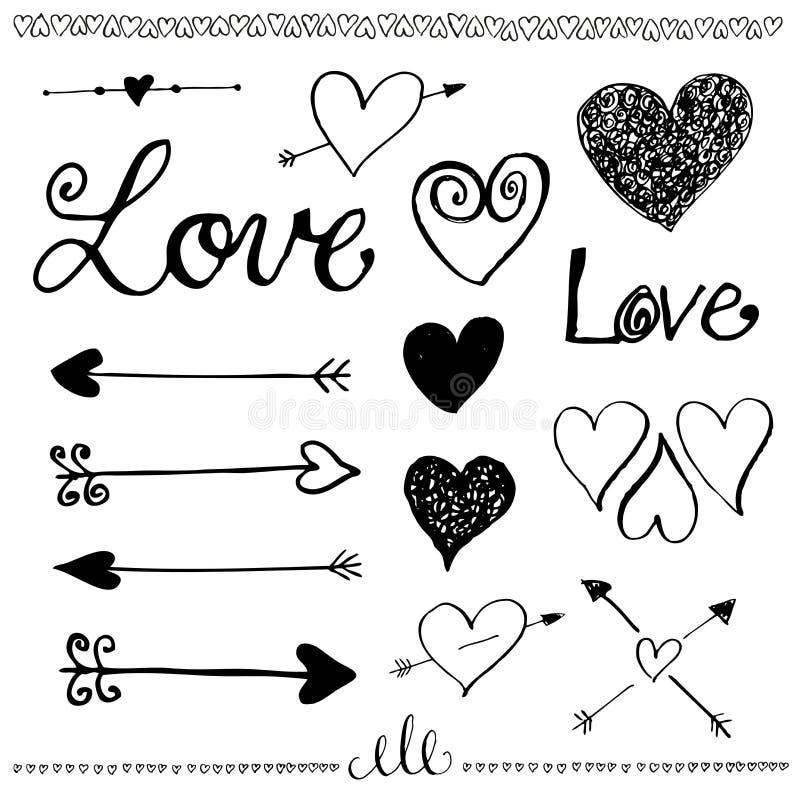 Sistema a mano del amor del garabato de la tinta Corazón y flecha ilustración del vector