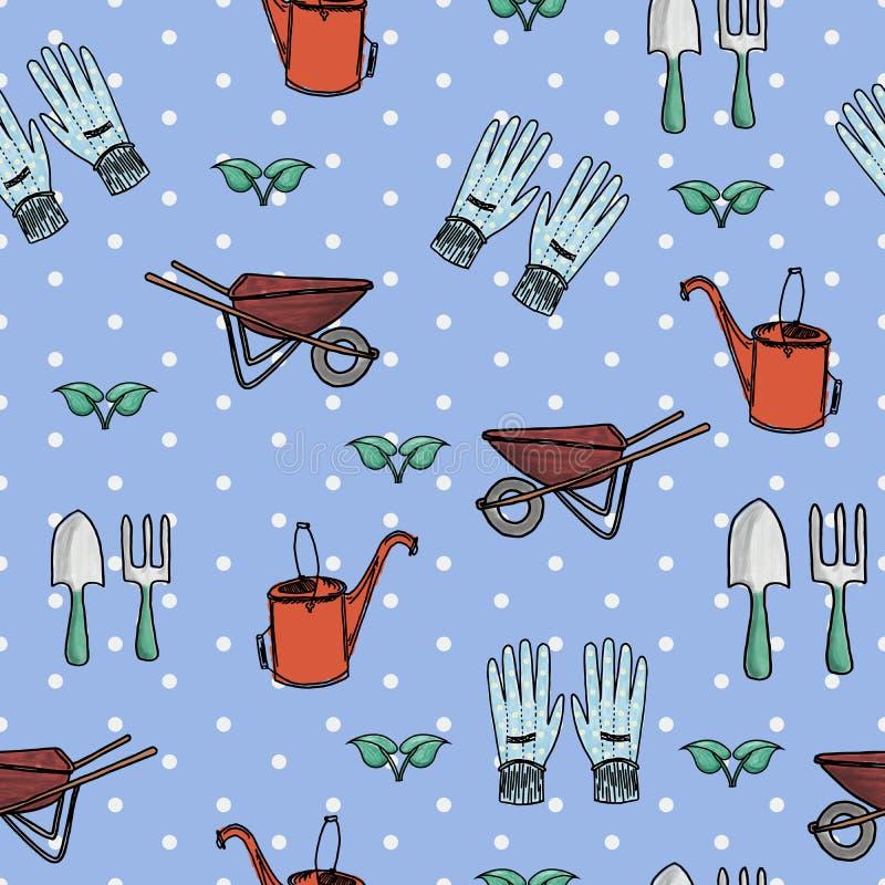 Sistema a mano inconsútil del jardín stock de ilustración