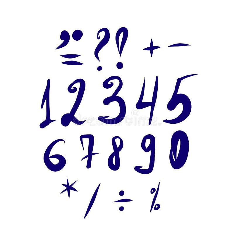 Sistema manuscrito con números y libre illustration