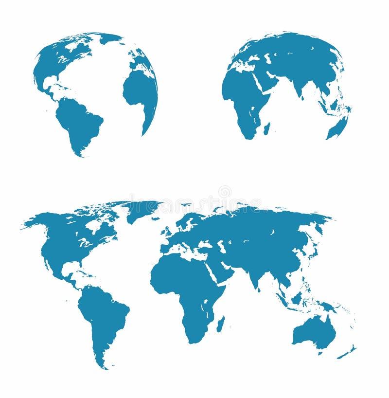 sistema - mapa del mundo, los dos hemisferios ilustración del vector