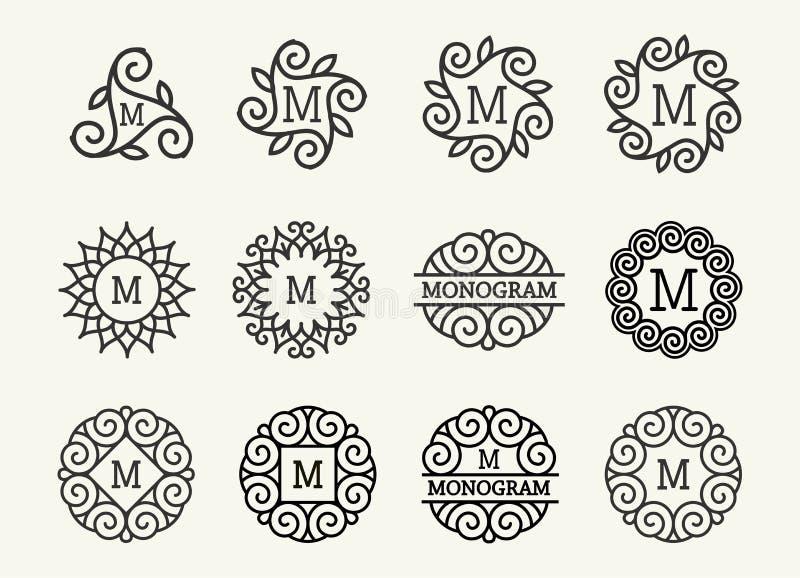 Sistema maravilloso, art nouveau del estilo La línea elegante redonda Art Logo, Emdlem y monograma diseña, vector la plantilla libre illustration