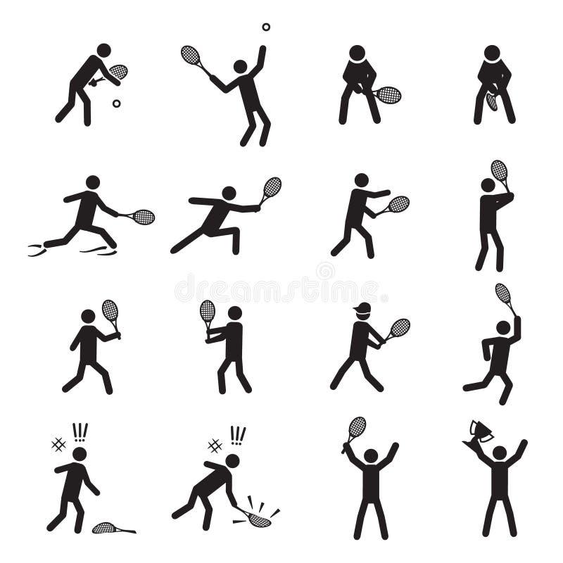 Sistema masculino del icono de las posturas del tenis ilustración del vector