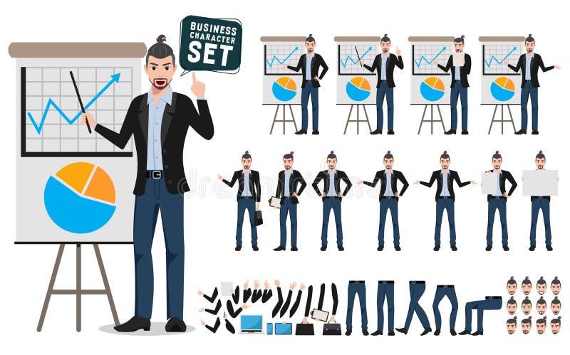 Sistema masculino del vector de los caracteres del negocio Presentación creativa del negocio de demostración del artista o del di libre illustration