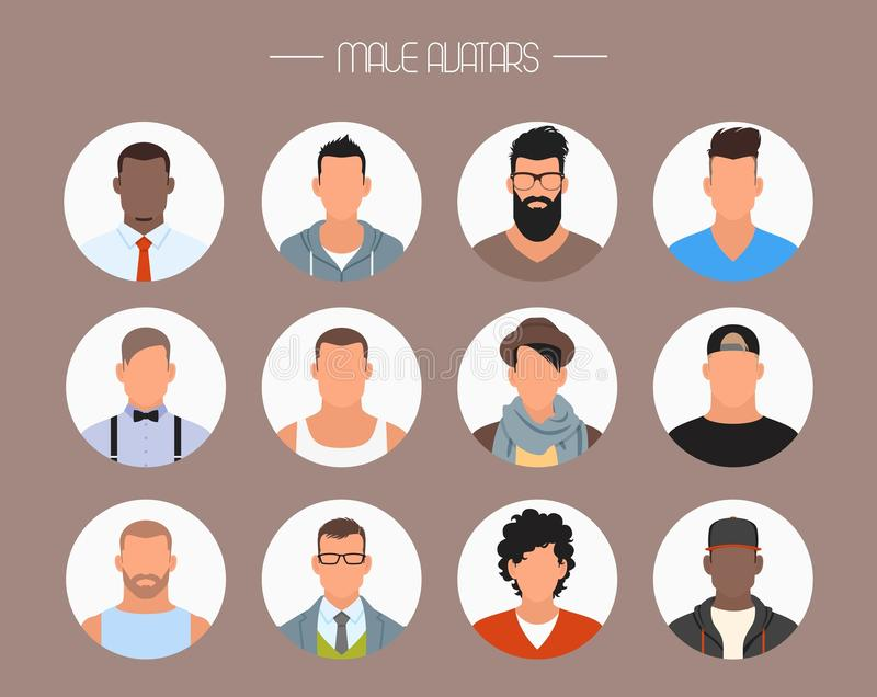 Sistema masculino del vector de los iconos del avatar Caracteres de la gente en estilo plano Caras con diversos estilos y naciona ilustración del vector