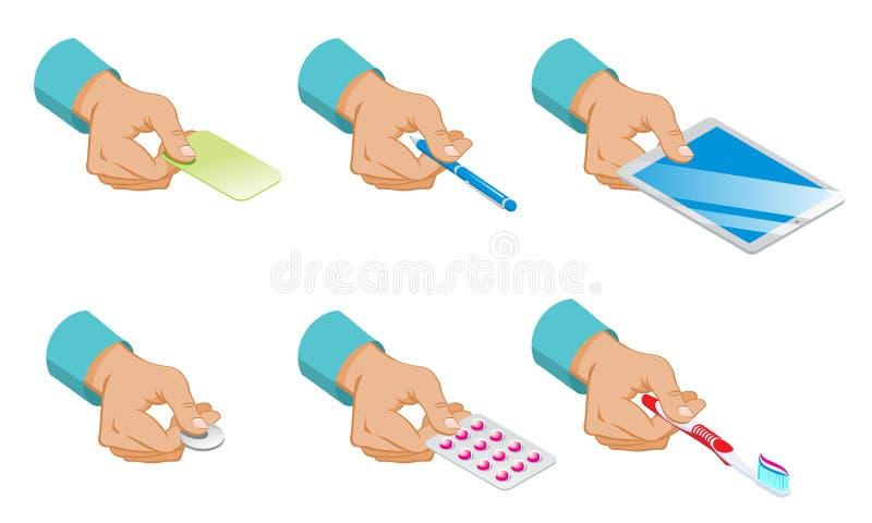 Sistema masculino isométrico del control de las manos ilustración del vector