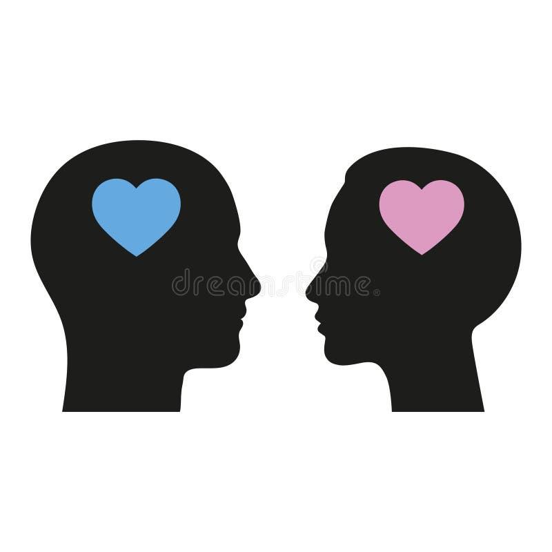 Sistema masculino y femenino del icono Avatar del usuario del hombre y de la mujer stock de ilustración