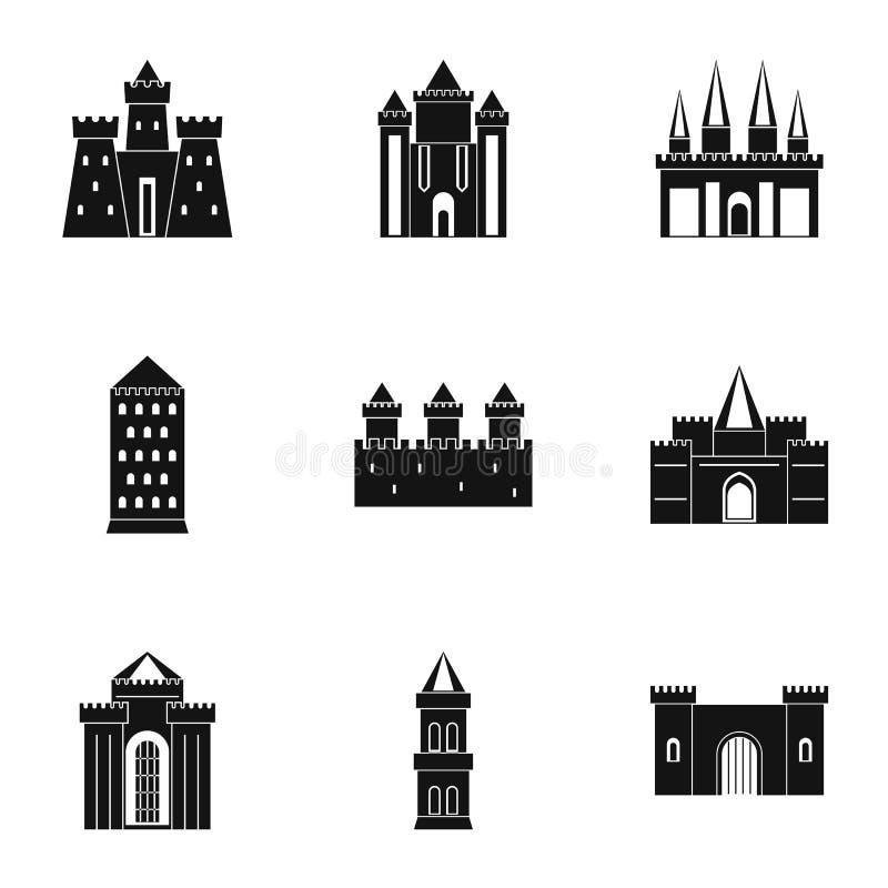 Sistema medieval del icono de los castillos, estilo simple libre illustration