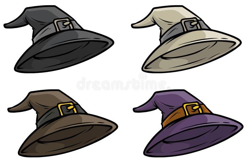Sistema medieval del icono del vector del sombrero de copa del mago de la historieta stock de ilustración