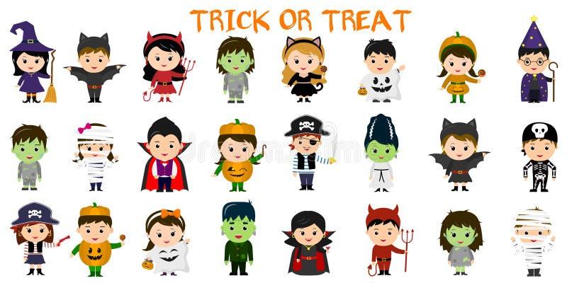 Sistema mega de caracteres del partido de Halloween Veinticuatro niños en diversos trajes para Halloween en un fondo blanco Histo ilustración del vector