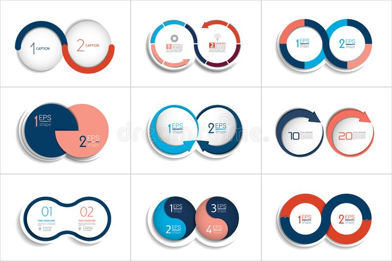Sistema mega de dos elementos, pasos carta, diagrama, esquema stock de ilustración