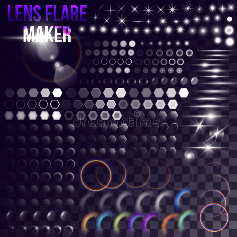 Sistema mega de elementos de la iluminación ilustración del vector