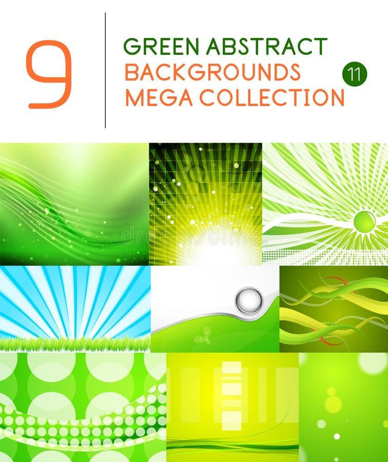 Sistema mega de fondos abstractos verdes stock de ilustración