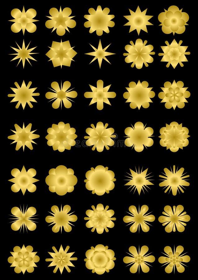 Sistema mega de formas de la estrella en diseño del oro Colección magnífica para el embalaje de lujo, cartel, aviador, cubierta,  ilustración del vector
