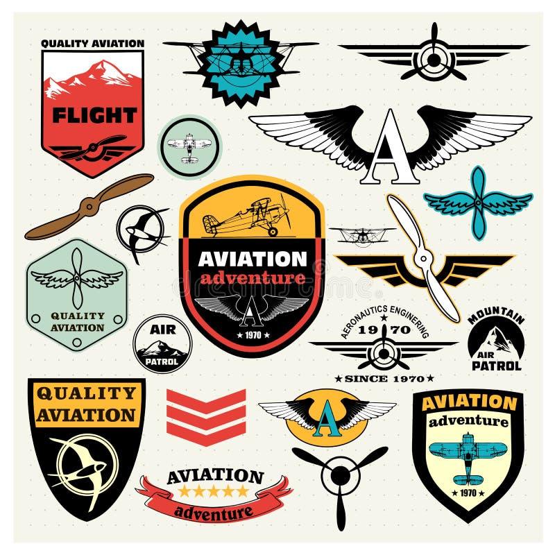 Sistema mega de la aviación del tema ilustración del vector