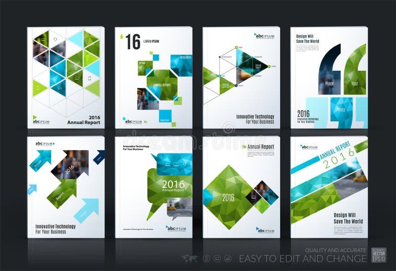 Sistema mega de la plantilla del vector del negocio La disposición del folleto, cubre moderno stock de ilustración