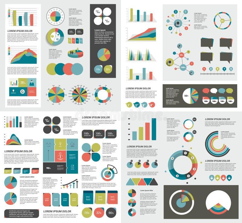 Sistema mega de las cartas de elementos del infographics, gráficos, cartas del círculo, diagramas libre illustration