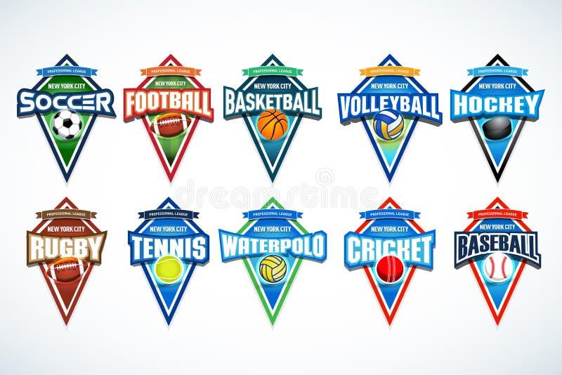 Sistema mega de los logotipos coloridos fútbol, fútbol, baloncesto, voleibol, hockey, rugbi, tenis, waterpolo, grillo, béisbol de stock de ilustración