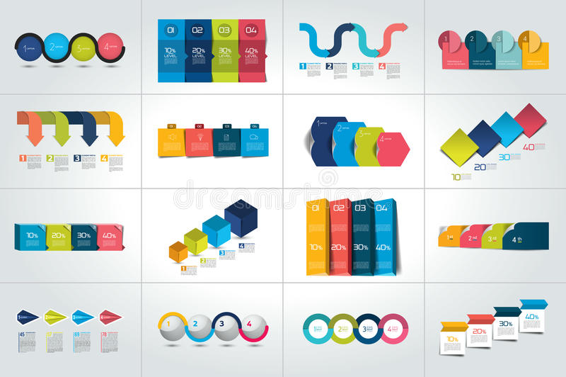Sistema mega de 4 plantillas infographic de los pasos, diagramas, gráfico, presentaciones, carta ilustración del vector