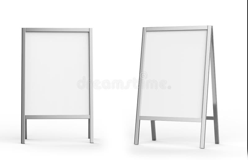 Sistema metálico blanco en blanco de la maqueta del soporte de la publicidad al aire libre, representación 3d Mofa clara del tabl stock de ilustración