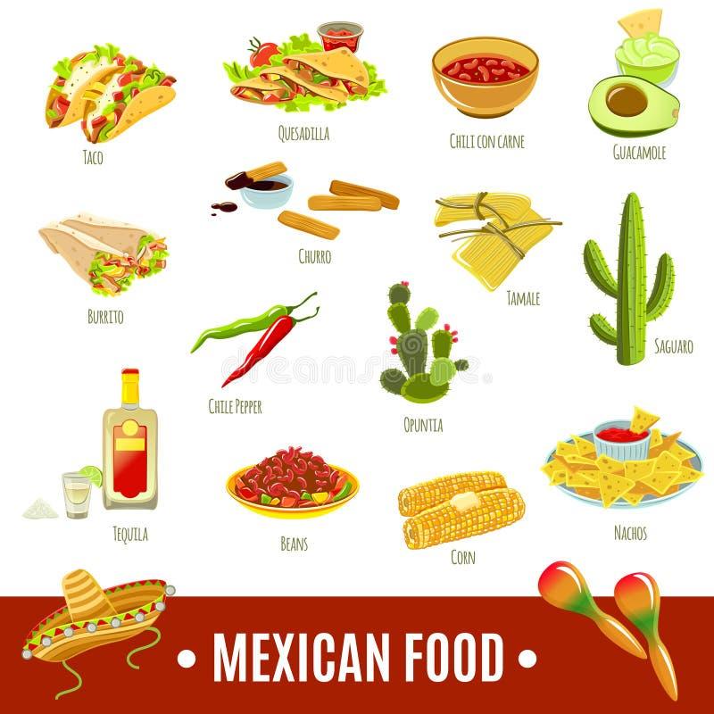 Sistema mexicano del icono de la comida ilustración del vector