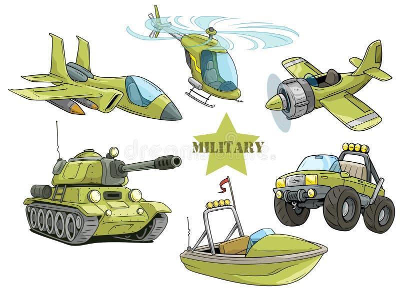 Sistema militar verde del vector de los vehículos de ejército de la historieta stock de ilustración
