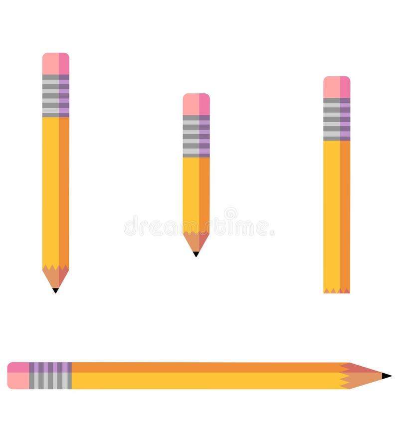 Sistema minimalista del vector del icono del lápiz stock de ilustración