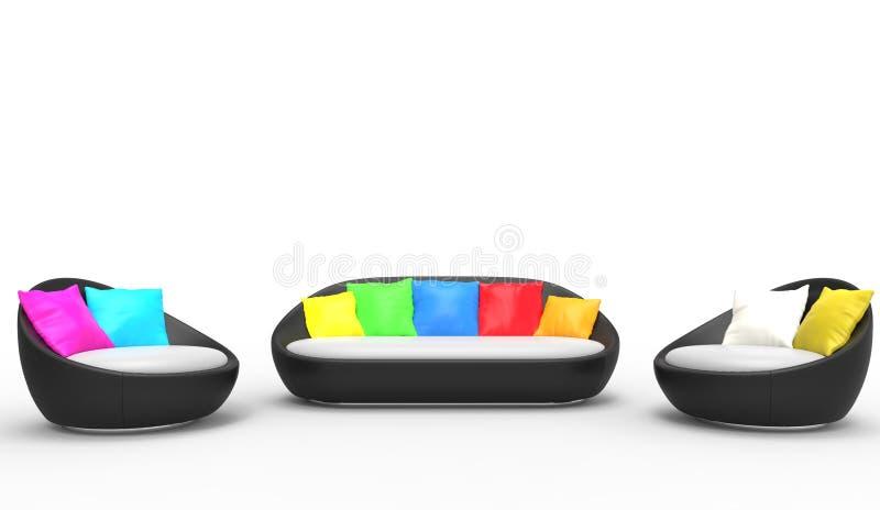 Sistema minimalista moderno de los muebles stock de ilustración