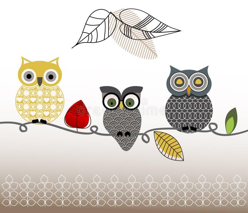 Sistema modelado gráfico de búhos libre illustration