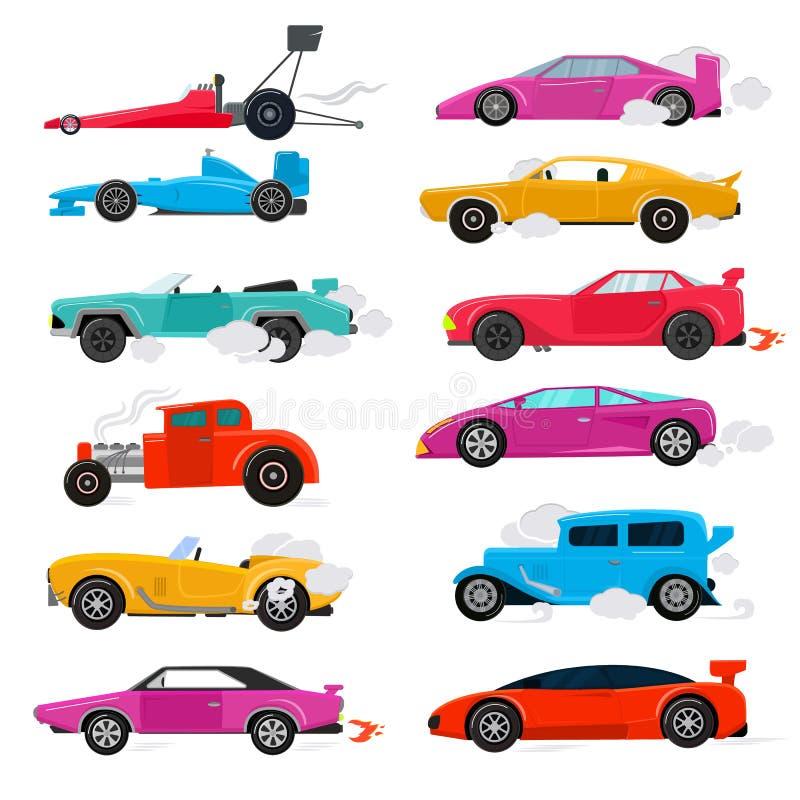 Sistema moderno auto de lujo retro del ejemplo del coche de competición del transporte del vector del coche y del automóvil del a ilustración del vector