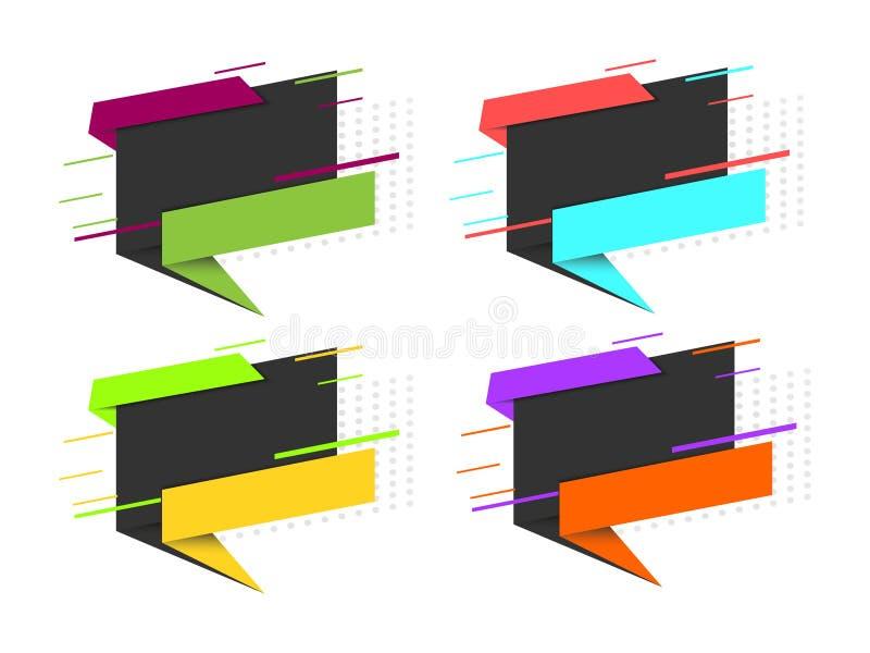 Sistema moderno de banderas en venta Elementos del diseño gráfico para hacer publicidad, página web, aviadores, carteles, avis stock de ilustración