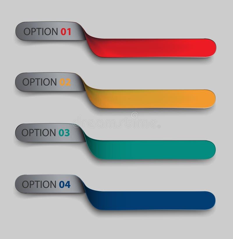 Sistema moderno de banderas, la cinta torcida para sus datos stock de ilustración