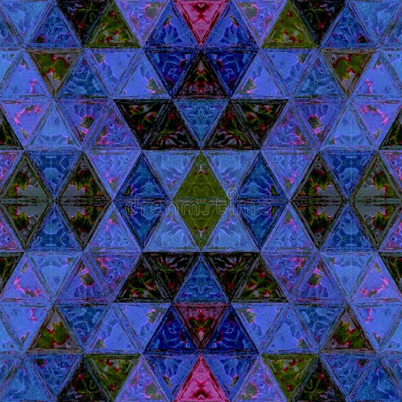 Sistema moderno de la acuarela del mosaico de los triángulos para el diseño decorativo en el azul de neón ilustración del vector