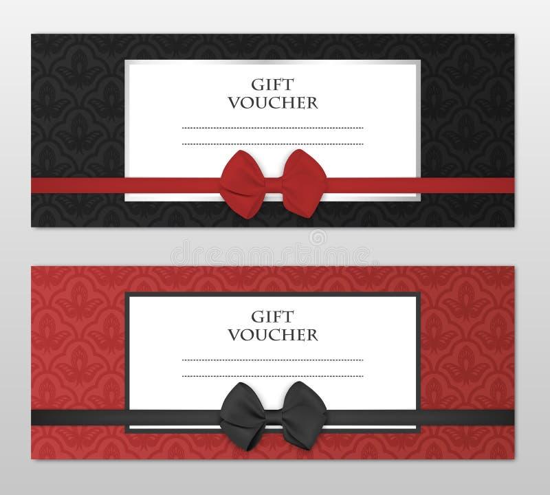 Sistema moderno de la plantilla del vale de regalo del vector con el estampado de flores y el arco hermoso Cupón del regalo, tarj stock de ilustración
