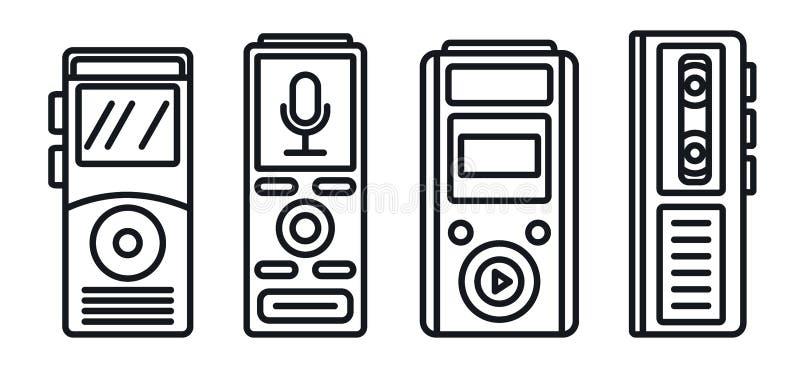 Sistema moderno de los iconos del dictáfono, estilo del esquema ilustración del vector