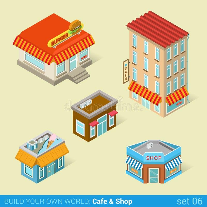 Sistema moderno del icono de la arquitectura de los edificios del negocio de la ciudad ilustración del vector