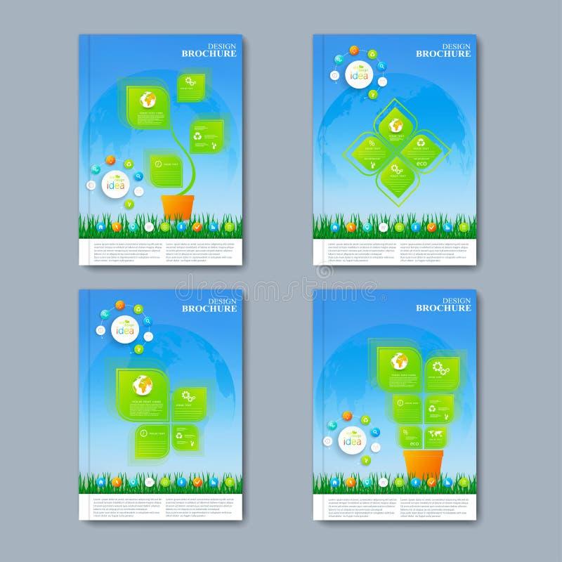 Sistema moderno del vector de folletos en el infographics ilustración del vector