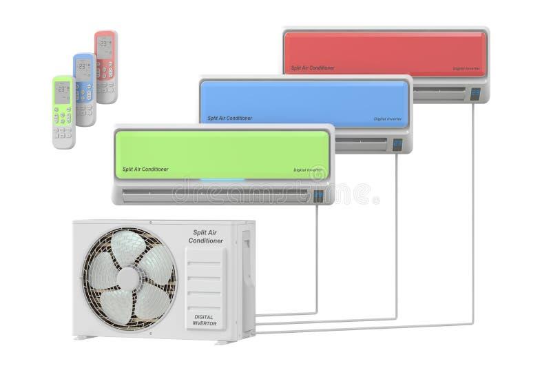 Sistema moderno do condicionador de ar com unidades e controlo a distância ilustração do vetor