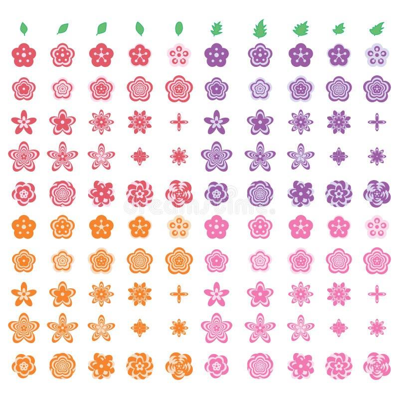 Sistema Moderno En Colores Pastel De La Hoja De La Flor Ilustración ...