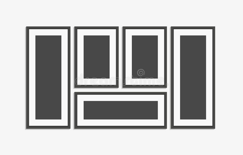 Sistema moderno realista del vector del marco del negro de la pared Representa la plantilla libre illustration