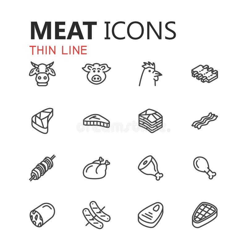 Sistema moderno simple de iconos de la carne stock de ilustración