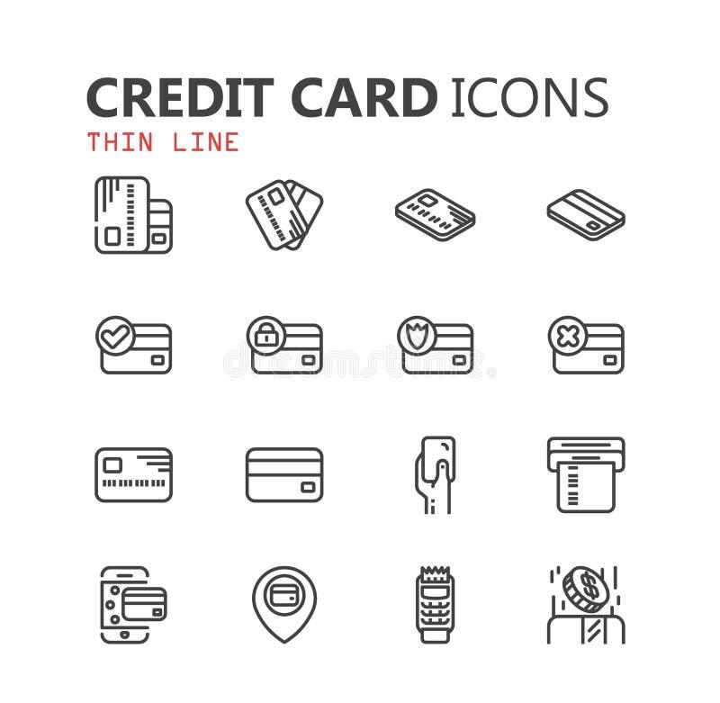 Sistema moderno simple de iconos de la tarjeta de crédito ilustración del vector