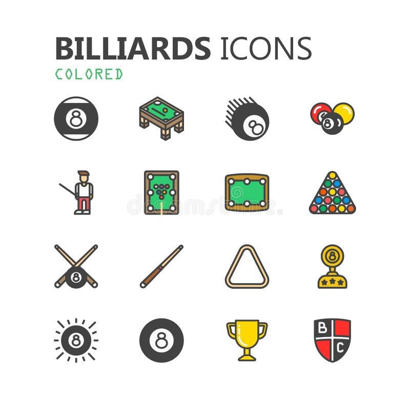 Sistema moderno simple de iconos de los billares Colección superior Ilustración del vector libre illustration