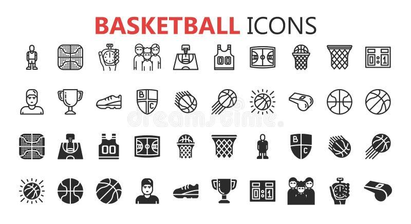 Sistema moderno simple de iconos del baloncesto stock de ilustración