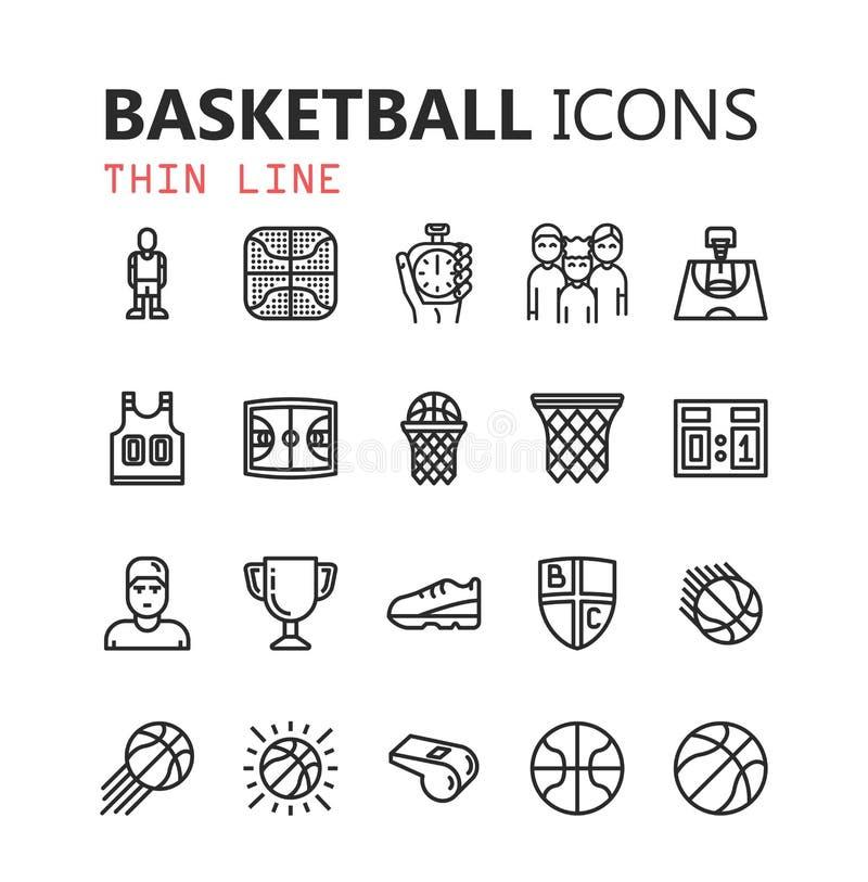 Sistema moderno simple de iconos del baloncesto libre illustration