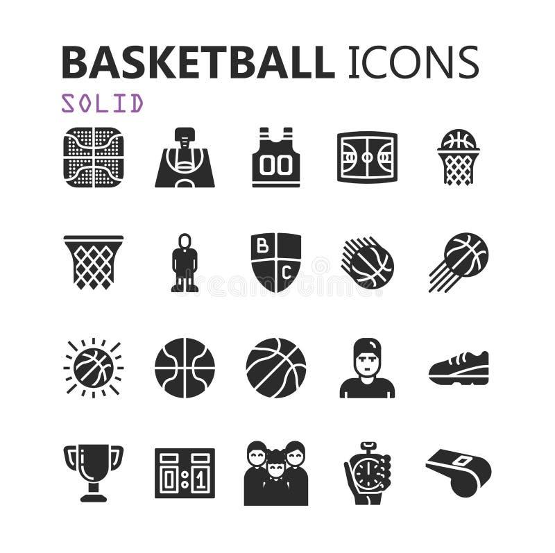 Sistema moderno simple de iconos del baloncesto imagenes de archivo