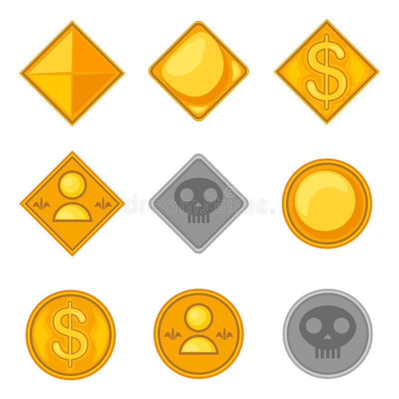Sistema monedas temáticas del juego de diversas ilustración del vector