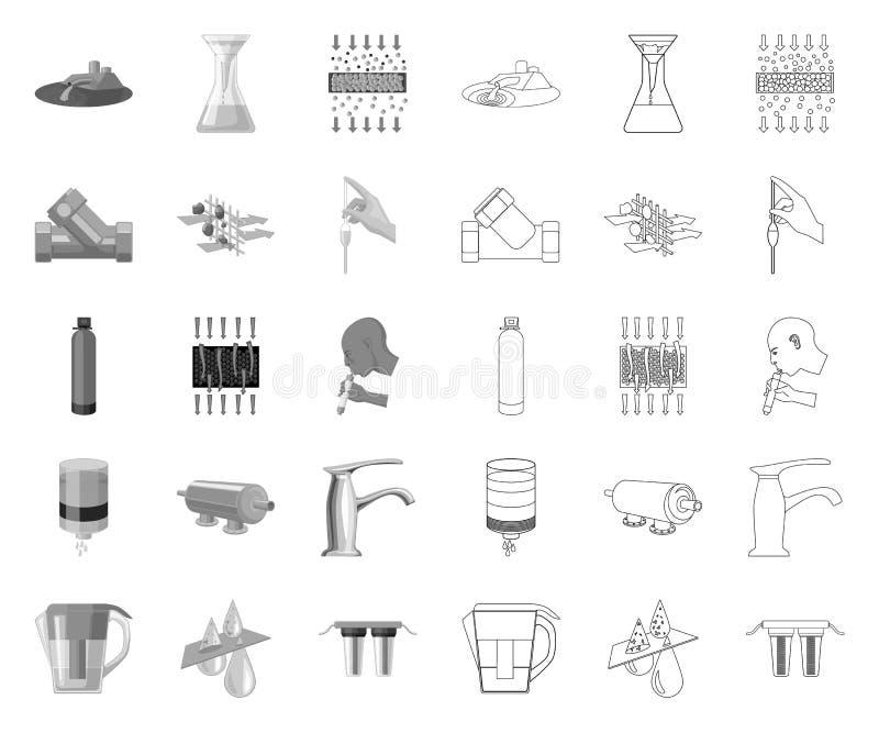 Sistema mono, icone di filtrazione dell'acqua del profilo nella raccolta stabilita per progettazione Web delle azione di simbolo  illustrazione vettoriale