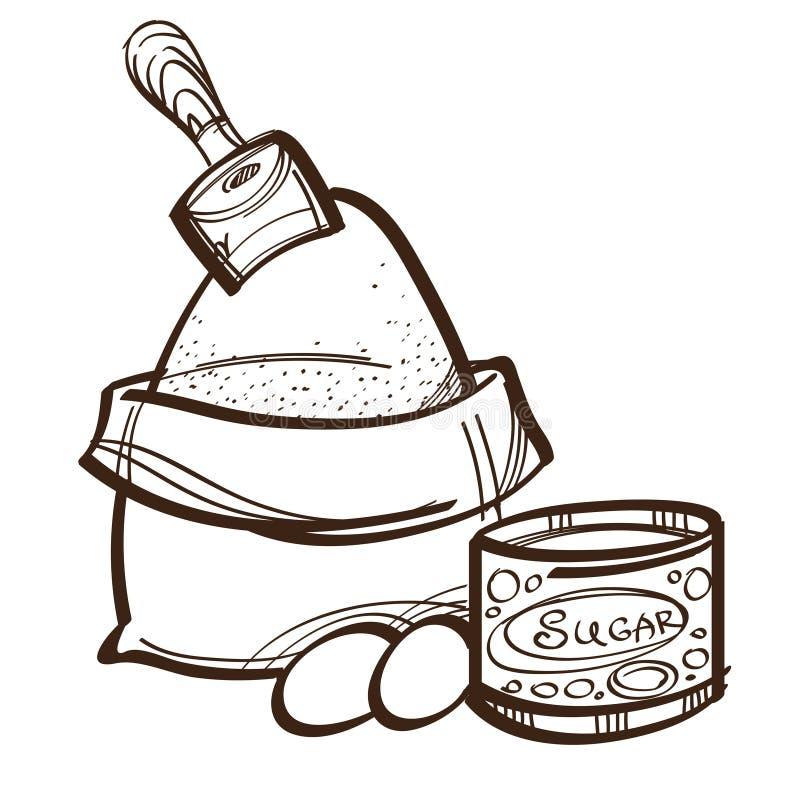 Sistema monocromático del vector de harina en bolso, huevos y azúcar Rueda dentada libre illustration