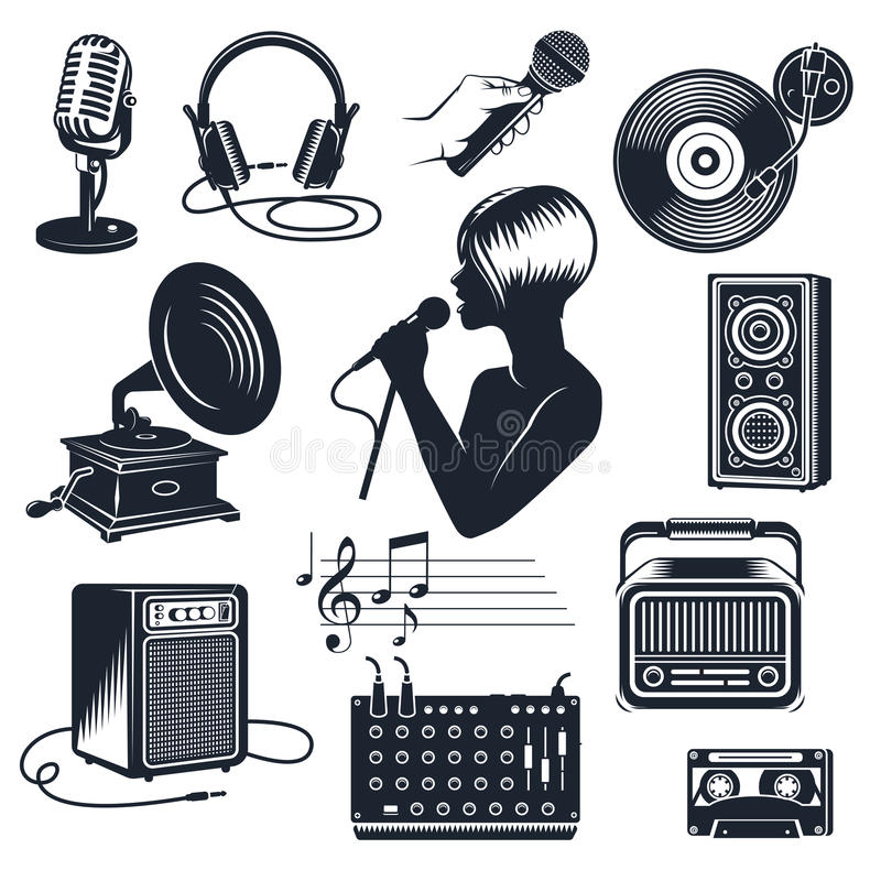 Sistema monocromático del vintage de los elementos del Karaoke libre illustration